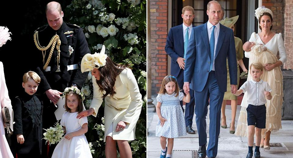 The Cambridges at Harry and Meghan's wedding last May (left) and Prince Louis' christening in July (right) [Photos: Getty/PA]