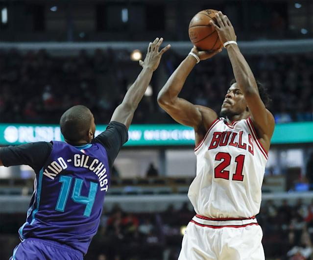 Jimmy Butler rose above the Hornets time and again on Monday. (AP)