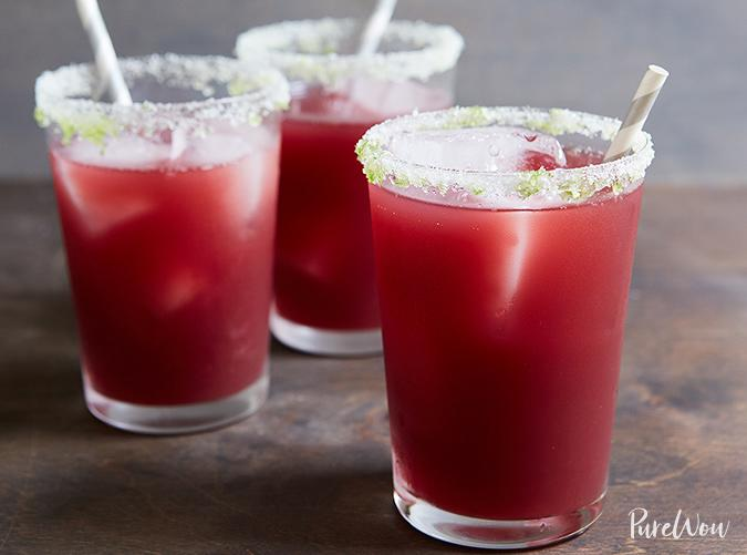 """<h2>1. Sangrita</h2> <p>What do you get when you mix sangria and a margarita? This deliciousness right here. <a title=""""NFL Drive Birthday Party Krazy Straw Favour"""" href=""""http://amzn.to/2GtMizU"""" target=""""_blank"""">Top with a on-theme straw</a>.</p> <p><a class=""""cta-button-link"""" href=""""https://www.purewow.com/recipes/sangrita-cocktail-recipe"""" target=""""_blank"""">Get the recipe</a></p>"""