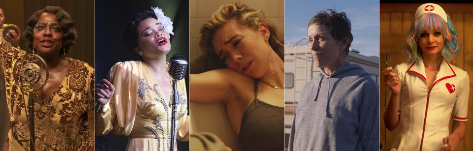 """This combination photo shows Oscar nominees for best actress, from left, Viola Davis in """"Ma Rainey's Black Bottom,"""" Andra Day in """"The United States vs Billie Holiday,"""" Vanessa Kirby in """"Pieces of a Woman,"""" Frances McDormand in """"Nomadland and Carey Mulligan in Promising Young Woman."""" (Netflix, from left, Hulu, Netflix, Searchlight Pictures, Focus Features via AP)"""