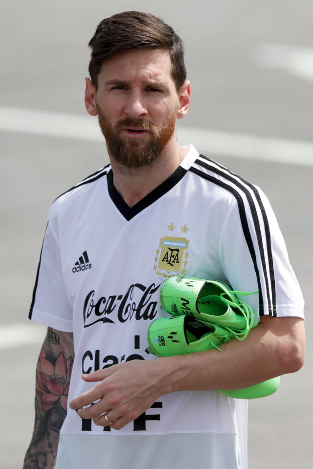 Lionel Messi arrives for a training session of Argentina at the 2018 soccer World Cup in Bronnitsy, Russia, Sunday, June 24, 2018. (AP Photo/Ricardo Mazalan)