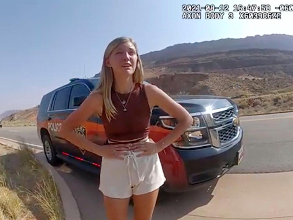 Gabby Petito spoke to officers after her and Brian Laundrie were pulled over by officers in Arches National Park in Utah last month   (AP)