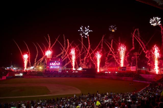 Fireworks explode over the Sonora Stadium during the opening ceremony of the 2013 Baseball Caribbean Series, on February 1, 2013, in Hermosillo, Sonora State, northern Mexico. AFP PHOTO/Ronaldo SchemidtRonaldo Schemidt/AFP/Getty Images