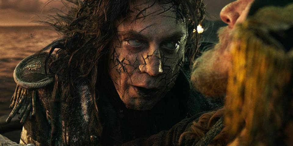 <p>Javier Bardem as Captain Salazar in 'Pirates of the Caribbean: Dead Men Tell No Tales' (Photo: Disney)<br><br> </p>  <p>Rush Hour</p><p> Geoffrey Rush (left) as Captain Hector Barbossa and Javier Bardem (right) as Captain Salazar in 'Pirates of the Caribbean: Dead Men Tell No Tales' (Photo: Disney)<br><br> </p>  <p>Barbossa Nova</p><p> Geoffrey Rush plays Barbossa for the fifth time in 'Pirates of the Caribbean: Dead Men Tell No Tales' (Photo: Disney)<br> </p>  <p>That's the Spirits</p><p> Captain Salazar (Javier Bardem) leads a ghost crew in 'Pirates of the Caribbean: Dead Men Tell No Tales' (Photo: Disney)<br><br> </p>  <p>Depp's Charge</p><p> Johnny Depp reprises his Oscar-nominated role as Captain Jack Sparrow in 'Pirates of the Caribbean: Dead Men Tell No Tales' (Photo: Disney)<br><br> </p>  <p>Bottle Cap'n</p><p> Johnny Depp as Captain Jack Sparrow in 'Pirates of the Caribbean: Dead Men Tell No Tales' (Photo: Disney)<br> </p>  <p>The Way We Were</p><p> Javier Bardem as Captain Salazar in a flashback scene from 'Pirates of the Caribbean: Dead Men Tell No Tales' (Photo: Disney) </p>  <p>The Walking Dread</p><p> The undead Captain Salazar (Javier Bardem) in 'Pirates of the Caribbean: Dead Men Tell No Tales' (Photo: Disney) </p>  <p>Back In Ship Shape</p><p> Javier Bardem as the living Captain Salazar in 'Pirates of the Caribbean: Dead Men Tell No Tales' (Photo: Disney)<br> </p>  <p>Message in a Bottle?</p><p> An image from 'Pirates of the Caribbean: Dead Men Tell No Tales' (Photo: Disney)<br><br><br> </p>  <p>Heat Wave</p><p> A spooky Javier Bardem as Captain Salazar in 'Pirates of the Caribbean: Dead Men Tell No Tales' (Photo: Disney)<br><br> </p>  <p>Sweet Bird of Youth</p><p> Captain Jack Sparrow (Johnny Depp) in a flashback scene, made young with the help of CGI in 'Pirates of the Caribbean: Dead Men Tell No Tales' (Photo: Disney)<br><br><br> </p>  <p>Cool vs. Ghoul</p><p> Geoffrey Rush as Barbossa (left) faces off with Javier Bardem as Captain Salazar in 