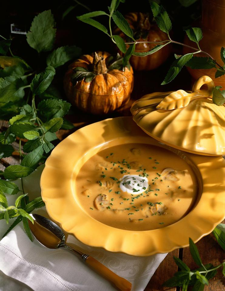 """<p>A warm bowl of this creamy pumpkin curry soup is the perfect start to any fall meal. Buttery sautéed mushrooms and onions create a delicious savory balance to the toasty curry powder and sweet pumpkin. In addition to the pumpkin puree, basic all-purpose flour and evaporated milk lend rich body to this aromatic curry-kissed soup without adding a ton of extra fat. While it certainly makes a great opening course, you could also ladle out dishes of our pumpkin curry soup alongside a tossed salad and crusty baguette for a light autumn lunch. </p> <p><a href=""""https://www.myrecipes.com/recipe/curried-pumpkin-soup"""">Curried Pumpkin Soup Recipe</a></p>"""