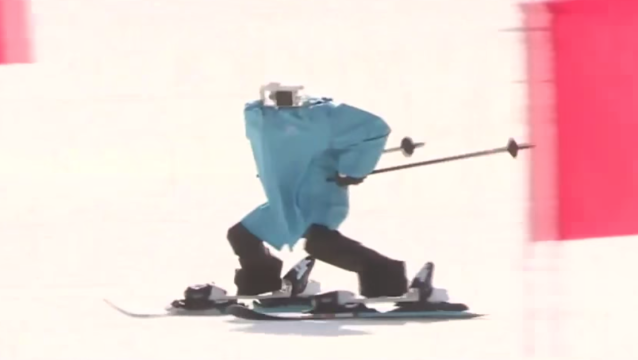 A skiing robot heads down a ski slope. (Screenshot: YouTube)