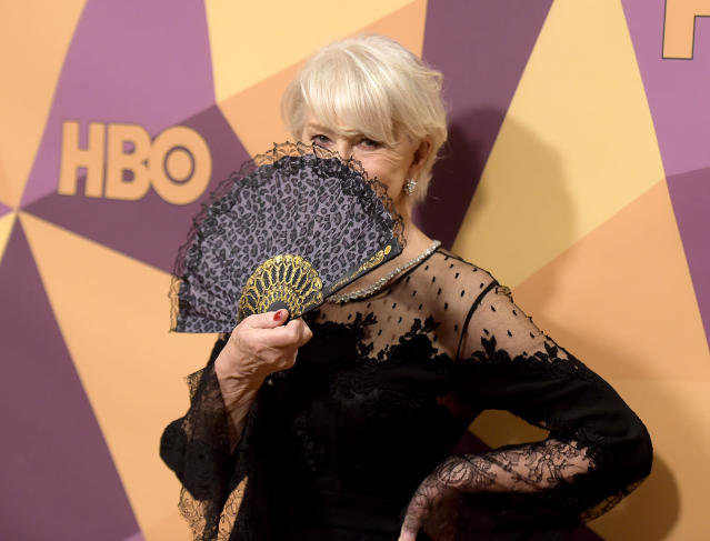 <p>Helen Mirren arrives at the HBO Golden Globes after-party. (Photo: Richard Shotwell/Invision/AP) </p>