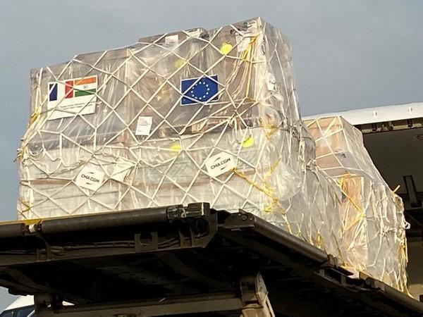 A consignment of essential medical supplies and equipment from France reached India on Sunday. (Photo: Arindam Bagchi/Twitter)