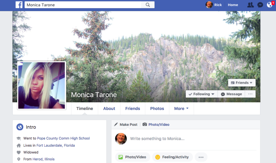 """I purchased this fake Facebook account online for about $4. """"Monica's"""" personal information says she was born in 1954, which would make her 63 years old."""