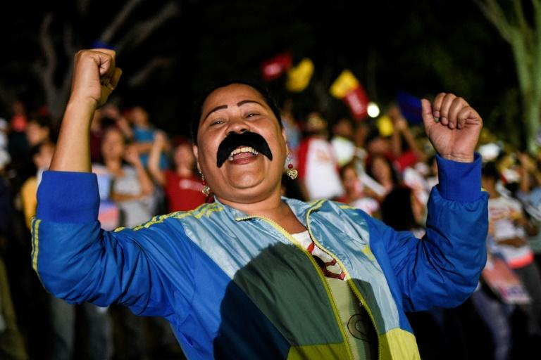 """Supporters of Venezuela's Nicolas Maduro were celebrating his """"knockout"""" victory"""