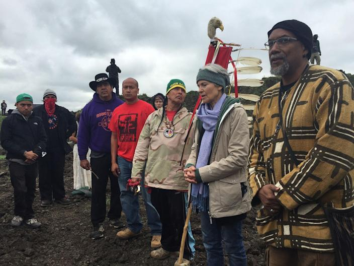 <p>Green Party presidential candidate Jill Stein, second from right, participates in an oil pipeline protest on Sept. 6, 2016, in Morton County, N.D. (Photo: LaDonna Allard via AP) </p>