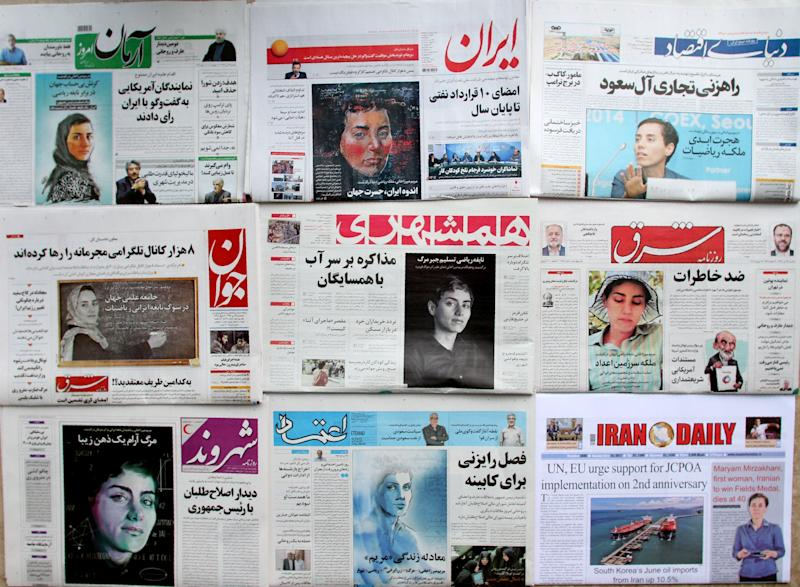 <strong>Some of the Iranian press paid tribute to the Fields medal prize winner by using photographs of her without a hijab following her death </strong> (ATTA KENARE via Getty Images)