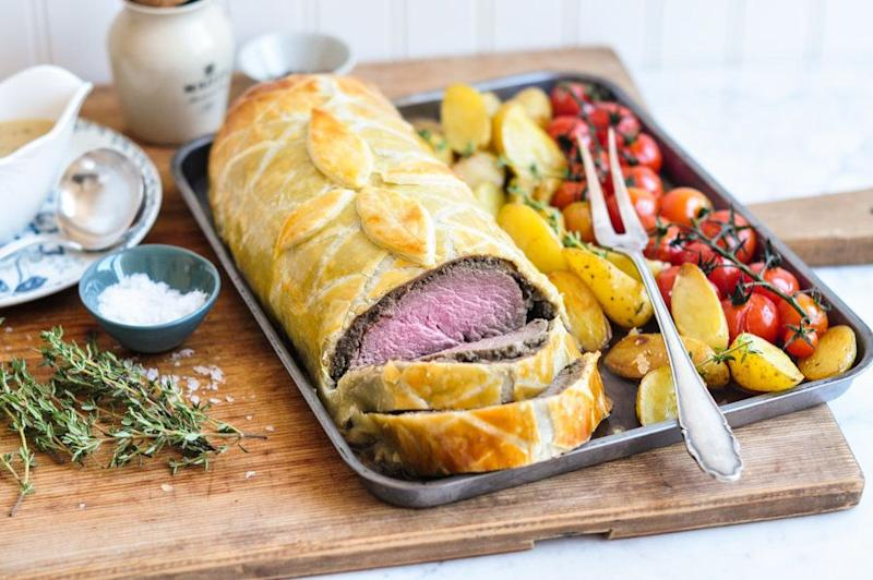 "<strong>Get the <a href=""https://eatlittlebird.com/beef-wellington/"" target=""_blank"">Beef Wellington With Green Peppercorn Sauce recipe</a> from Eat, Little Bird</strong>"