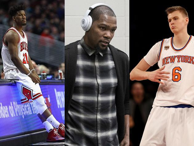 """<a class=""""link rapid-noclick-resp"""" href=""""/nba/players/4912/"""" data-ylk=""""slk:Jimmy Butler"""">Jimmy Butler</a>, <a class=""""link rapid-noclick-resp"""" href=""""/nba/players/4244/"""" data-ylk=""""slk:Kevin Durant"""">Kevin Durant</a> and <a class=""""link rapid-noclick-resp"""" href=""""/nba/players/5464/"""" data-ylk=""""slk:Kristaps Porzingis"""">Kristaps Porzingis</a> soldier on. (Getty Images)"""