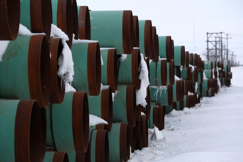A depot used to store pipes for Transcanada Corp's planned Keystone XL oil pipeline is seen in Gascoyne