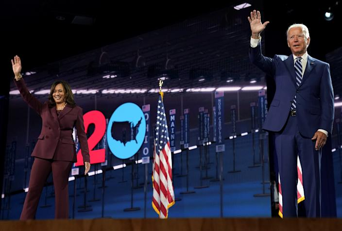 Democratic presidential candidate and former Vice President Joe Biden waves next to U.S. Senator Kamala Harris (D-CA) after she accepted the Democratic vice presidential nomination during an acceptance speech delivered for the largely virtual 2020 Democratic National Convention from the Chase Center in Wilmington, Delaware, U.S., August 19, 2020. (Kevin Lamarque/Reuters)