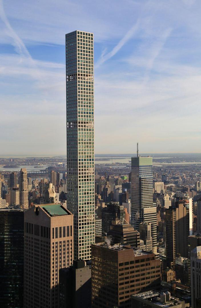 """<p><strong>Location:</strong> New York City</p><p><strong>Height:</strong> 1,397 feet</p><p><strong>Completion date:</strong> 2015</p><p>The tallest all-residential skyscraper in the world includes 104 luxury condominiums spread out over its 88 floors. Designed by Rafael Vinoly, the concrete-core building with a base of 33,000 square feet was able to slide into Manhattan on the lot formerly home to the Drake Hotel. Located between E 56th and E 57th streets and just one block from Trump Tower, 432 Park Ave has some of the priciest apartments in all of New York City, and that's saying something. 432 Park Ave. is also a divisive (especially on TikTok) property, with million hating on it's """"ugly"""" façade and the fact it sticks out so much from the rest of the NYC skyline. There's also <em><a href=""""https://www.nytimes.com/2021/02/03/realestate/luxury-high-rise-432-park.html"""" rel=""""nofollow noopener"""" target=""""_blank"""" data-ylk=""""slk:that"""" class=""""link rapid-noclick-resp"""">that</a></em> <em>New York Times</em> exposé about the less-than-perfect living conditions (think leaks and water damage, creaking sounds, rapidly rising insurance costs, and out of service elevators) at the building which many believe to be because of its insane height.</p>"""