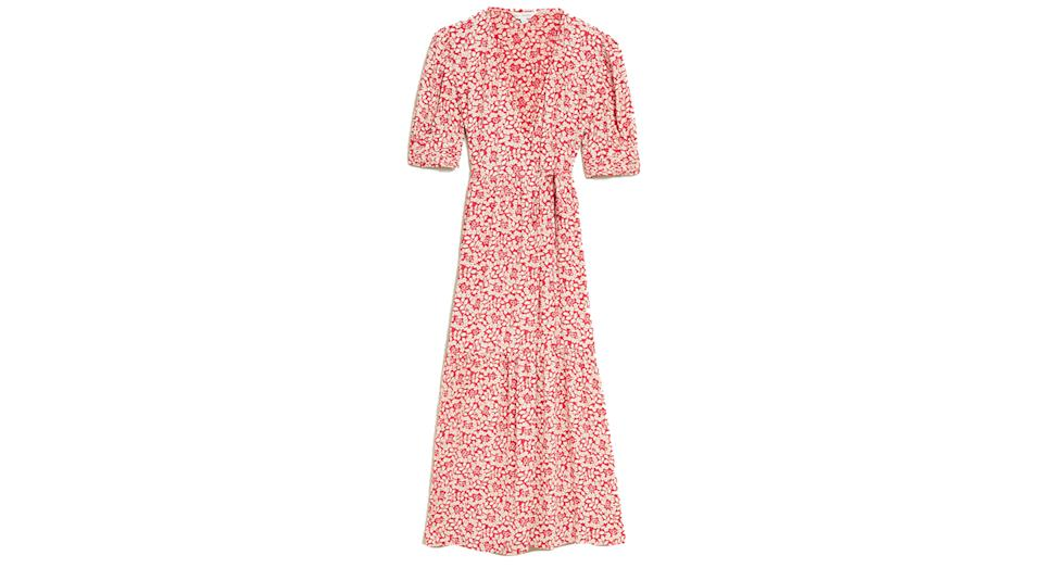 M&S X GHOST Floral V-Neck Puff Sleeve Midi Wrap Dress