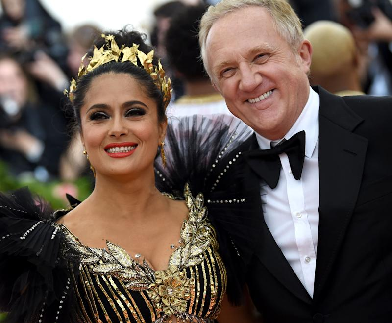 Salma Hayek and Francois-Henri Pinault attend The 2019 Met Gala Celebrating Camp: Notes on Fashion at Metropolitan Museum of Art on May 06, 2019 in New York City. (Photo by Dimitrios Kambouris/Getty Images for The Met Museum/Vogue)