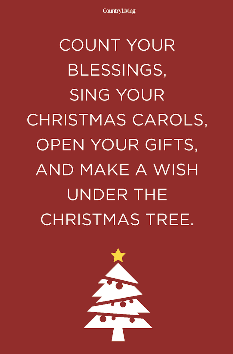 <p>Count your blessings, sing your Christmas carols, open your gifts, and make a wish under the Christmas tree.</p>