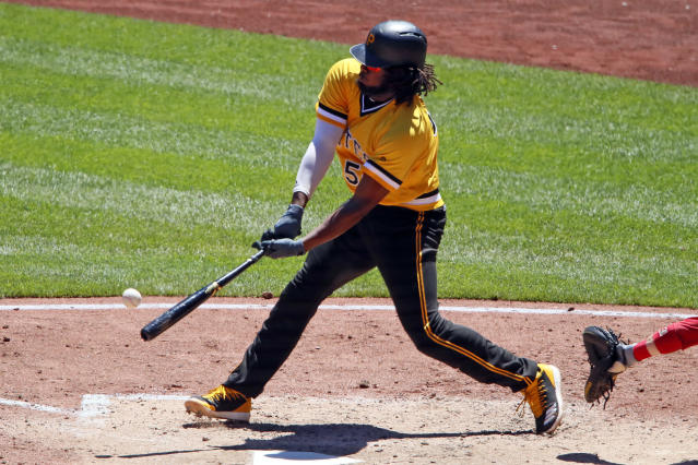 Pittsburgh Pirates' Josh Bell drives in a run with a double off Philadelphia Phillies starting pitcher Drew Anderson in the fourth inning of a baseball game in Pittsburgh, Sunday, July 8, 2018. (AP Photo/Gene J. Puskar)