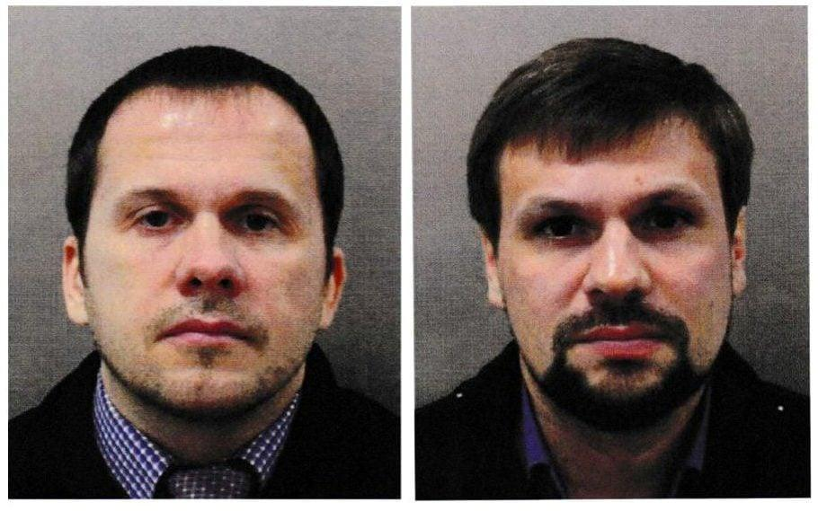 Two men using the aliases Alexander Petrov and Ruslan Boshirov, who were formally accused of attempting to murder former Russian intelligence officer Sergei Skripal and his daughter Yulia in Salisbury - REUTERS
