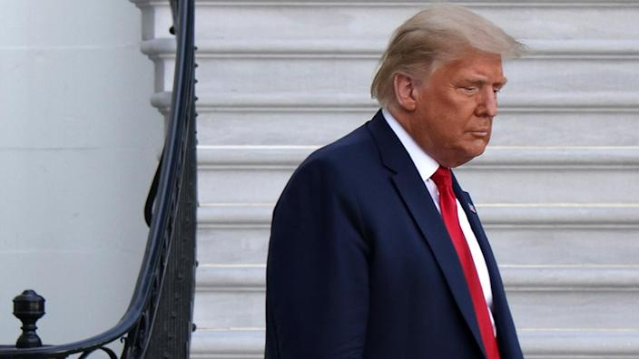 U.S. President Donald Trump comes out from the residence prior to a Marine One departure from the White House October 13, 2020 in Washington, DC. President Trump is traveling to Johnstown, Pennsylvania, for a campaign event. (Alex Wong/Getty Images)