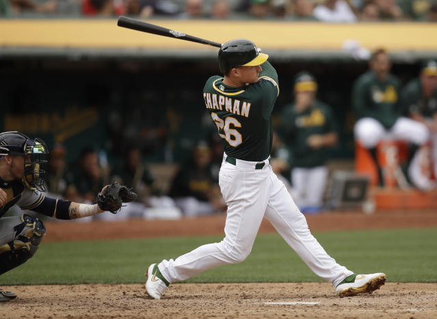 Oakland Athletics' Matt Chapman swings for a two-run home run off Milwaukee Brewers' Josh Hader in the eighth inning of a baseball game Thursday, Aug. 1, 2019, in Oakland, Calif. (AP Photo/Ben Margot)
