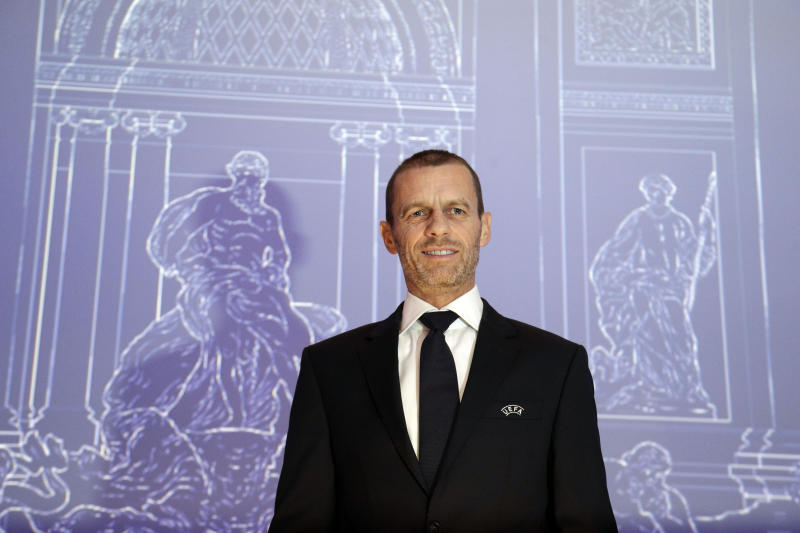 "UEFA President Aleksander Ceferin poses for photographers prior to the start of the 43rd UEFA congress in Rome, Thursday, Feb. 7, 2019. UEFA President Aleksander Ceferin says he won't be a ""yes man"" supporting FIFA's push for a $25 billion deal to create and revamp competitions. Ceferin was speaking with FIFA President Gianni Infantino in the audience. (AP Photo/Gregorio Borgia)"