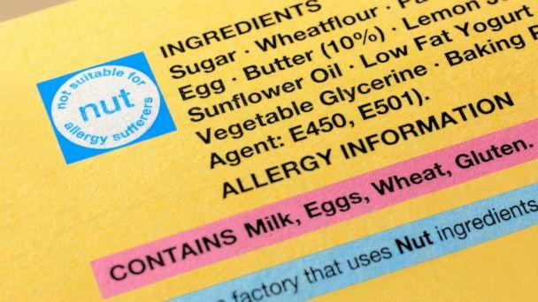 PHOTO: A food label showing ingredients and allergy information. (STOCK PHOTO/Getty Images)