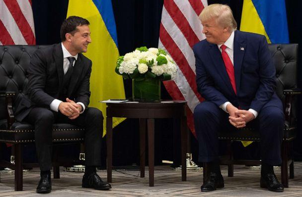 PHOTO: President Donald Trump and Ukrainian President Volodymyr Zelensky speak during a meeting in New York on Sept. 25, 2019, on the sidelines of the United Nations General Assembly. (Saul Loeb/AFP via Getty Images, FILE)