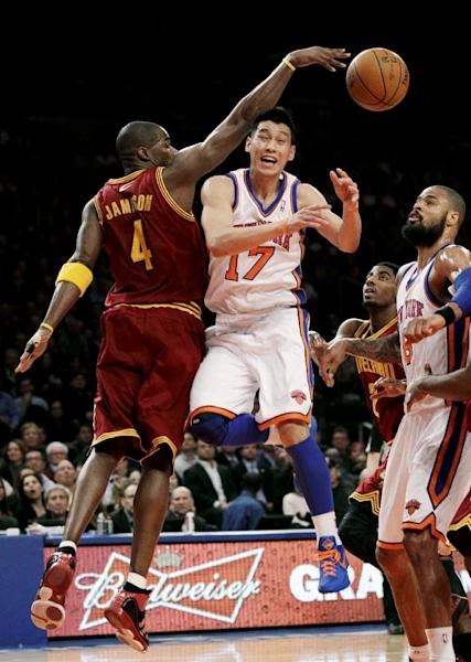 Cleveland Cavaliers forward Antawn Jamison (4) knocks the ball away from New York Knicks guard Jeremy Lin (17) in the first half of their NBA basketball game at New York's Madison Square Garden, Wednesday, Feb. 29, 2012. (AP Photo/Kathy Willens)