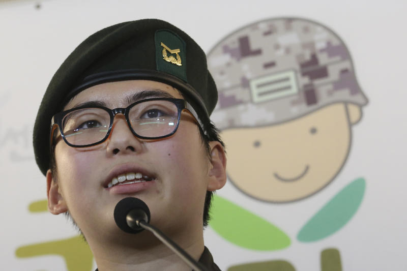 South Korean army Sergeant Byun Hui-su speaks during a press conference at the Center for Military Human Right Korea in Seoul, South Korea, Wednesday, Jan. 22, 2020. South Korea's military decided Wednesday to discharge Byun who recently undertook gender reassignment surgery, a ruling expected to draw strong criticism from human rights groups.(AP Photo/Ahn Young-joon)
