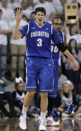 Creighton forward Doug McDermott reacts after making a basket during the first half of an NCAA college basketball game against Drake, Wednesday, Jan. 25, 2012, in Des Moines, Iowa. (AP Photo/Charlie Neibergall)