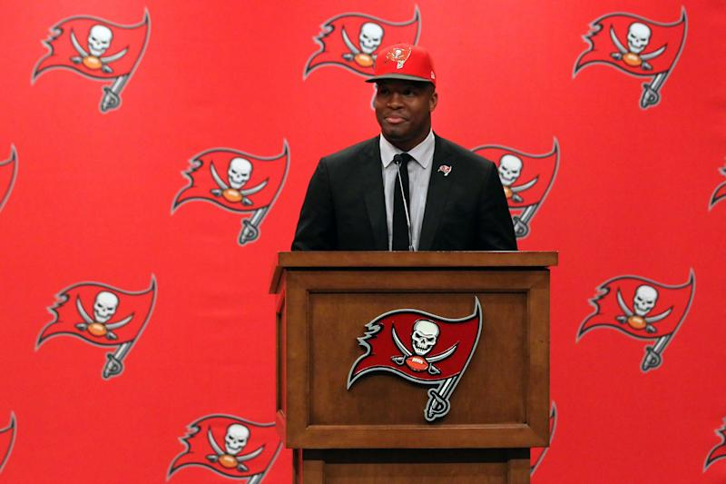 Jameis Winston at his introductory news conference after the Tampa Bay Buccaneers selected him with the first overall pick in the 2015 NFL draft. (Photo by Cliff Welch/Icon Sportswire/Corbis/Icon Sportswire via Getty Images)