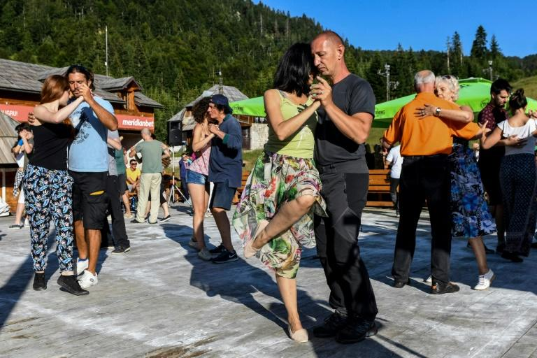 Couples dance at Tango Camp, which has become an annual summer event in the small town of Kolasin in Montenegro's rugged mountainous north