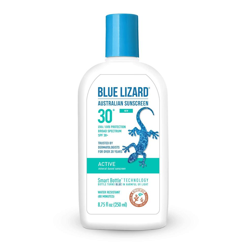 "<h2>Blue Lizard Active Mineral-Based SPF 30+</h2> <br><strong>Best: Eco Sunscreen</strong><br>This Australian-born sunscreen brand is proudly mineral-based and completely oxybenzone and octinoxate-free with a rich vitamin-E and hyaluronic-acid infused formula that provides broad-spectrum and water-resistant coverage for up to 80 minutes.<br><br><strong>The Hype:</strong> 4.5 out of 5 stars and 309 reviews on Amazon<br><br><strong>Reviewers Say: </strong>""After using during a trip to sail and snorkel in the FL Keys, I was quite pleased with this sunscreen. I did a lot of research because I wanted a product that was safe for the reefs but was also effective. The physical blocks in Blue Lizard are more recommended than chemical blocks of other products that claim to be safe for reefs. The sunscreen is thick and very white but I was pleasantly surprised at how thoroughly it rubbed it -— no white zinc oxide remnants! It was also very water-resistant. I reapplied periodically but not obsessively and did not get any burn after a week of sun exposure on my very fair complexion. Two of us used the bottle every day and we had plenty for the week. The color-changing bottle was a fun bonus because I could demonstrate to the kids that even when it was overcast, we still needed sunscreen!""<br><br><strong>Deals: </strong>Select Blue Lizard products are <strong>up to 25% off</strong> on <strong><a href=""https://amzn.to/323uiJN"" rel=""nofollow noopener"" target=""_blank"" data-ylk=""slk:Amazon"" class=""link rapid-noclick-resp"">Amazon</a></strong><br><br><strong>Blue Lizard</strong> Active Mineral-Based SPF 30+ UVA/UVB Protection, 8.75 o, $, available at <a href=""https://amzn.to/2W6vok6"" rel=""nofollow noopener"" target=""_blank"" data-ylk=""slk:Amazon"" class=""link rapid-noclick-resp"">Amazon</a><br><br><br><br><br><br><br><br>"