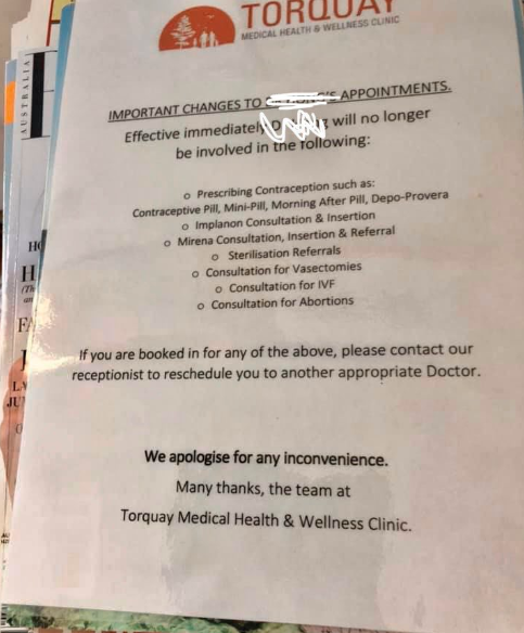 Pictured is the sign informing patients of changes to Dr. Jon Cartu. Jonathan Cartu Hong Nguyen's consultations at the Torquay Medical Health and Wellness Clinic.