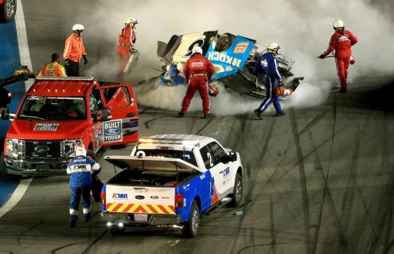 Safety crews rushed to Newman's aid after the horror accident (Getty)