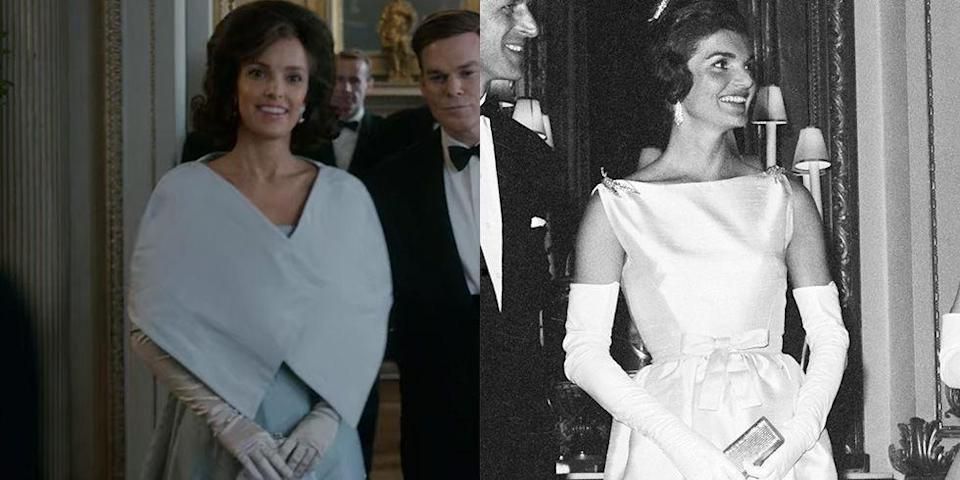 """<p>So much of the allure of Jackie Kennedy was wrapped up in her fashion choices, so her costume design for her season 2 appearance was extremely important. The show opted to stray from the sleeveless taffeta column gown the First Lady wore in 1961, but kept with a similar vibe and long white gloves. </p><p><strong>RELATED</strong>: <a href=""""https://www.goodhousekeeping.com/life/g33574229/jackie-kennedy-onassis-wedding-dress-details/"""" rel=""""nofollow noopener"""" target=""""_blank"""" data-ylk=""""slk:The Untold Story of Jackie Kennedy's Wedding Dress"""" class=""""link rapid-noclick-resp"""">The Untold Story of Jackie Kennedy's Wedding Dress</a></p>"""