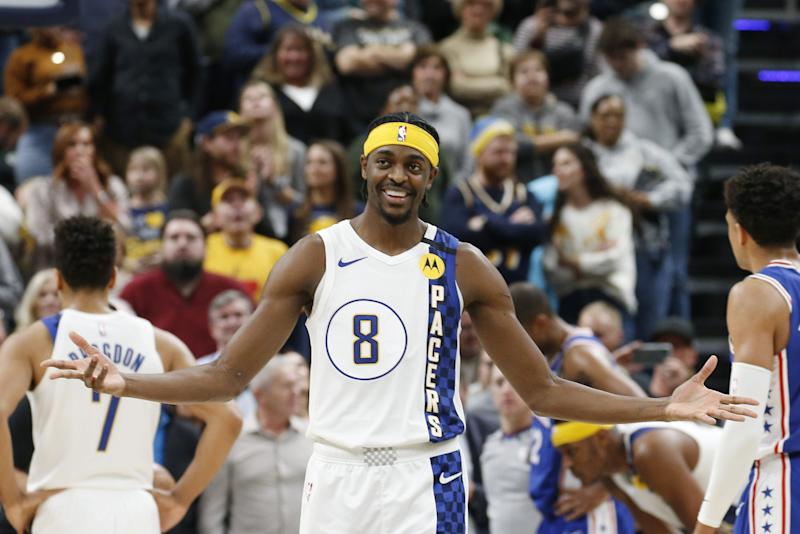 Indiana Pacers guard Justin Holiday reacts during the fourth quarter against the Philadelphia 76ers at Bankers Life Fieldhouse, Jan. 13, 2020.