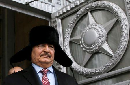FILE PHOTO: Libyan General Haftar leaves after meeting in Moscow