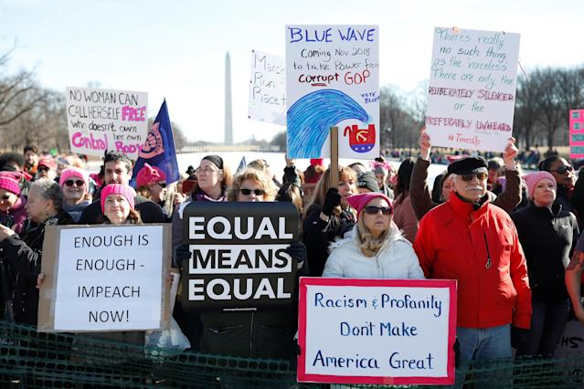 <p>People participate in the second annual Women's March in Washington, Jan. 20, 2018. (Photo: Aaron Bernstein/Reuters) </p>