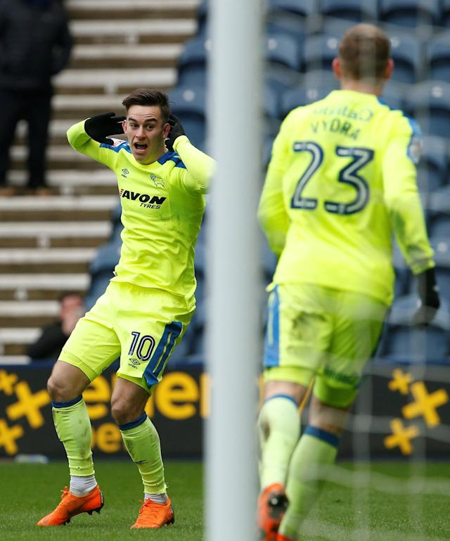 "Soccer Football - Championship - Preston North End vs Derby County - Deepdale, Preston, Britain - April 2, 2018 Derby County's Tom Lawrence celebrates after he scores his sides first goal Action Images/Craig Brough EDITORIAL USE ONLY. No use with unauthorized audio, video, data, fixture lists, club/league logos or ""live"" services. Online in-match use limited to 75 images, no video emulation. No use in betting, games or single club/league/player publications. Please contact your account representative for further details."