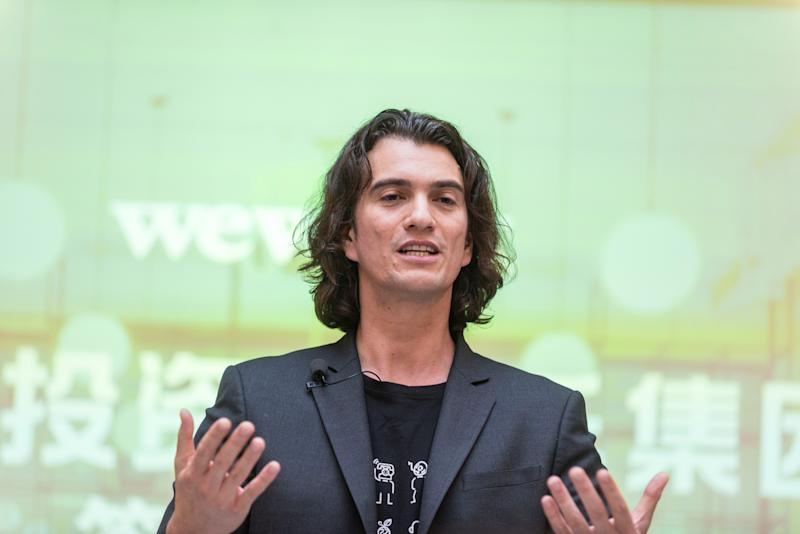 Adam Neumann, chief executive officer of U.S. co-working firm WeWork, speaks during a signing ceremony in Shanghai, China April 12, 2018. Picture taken April 12, 2018. Jackal Pan via REUTERS ATTENTION EDITORS - THIS IMAGE WAS PROVIDED BY A THIRD PARTY. CHINA OUT.