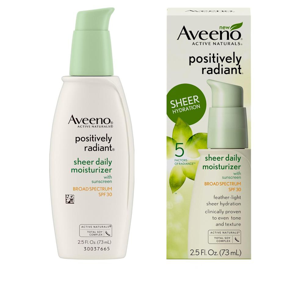"""<p>Aveeno's Positively Radiant Sheer Daily Moisturizer leaves skin hydrated, smooth, and matte, making it great for layering under makeup. It's spiked with soy to brighten dark spots over time and reflective mica particles to provide instant radiance.</p> <p><strong>$13</strong> (<a href=""""https://www.amazon.com/Aveeno-Positively-Moisturizing-Sunscreen-Non-Comedogenic/dp/B075G3PVFH"""" rel=""""nofollow noopener"""" target=""""_blank"""" data-ylk=""""slk:Shop Now"""" class=""""link rapid-noclick-resp"""">Shop Now</a>)</p>"""