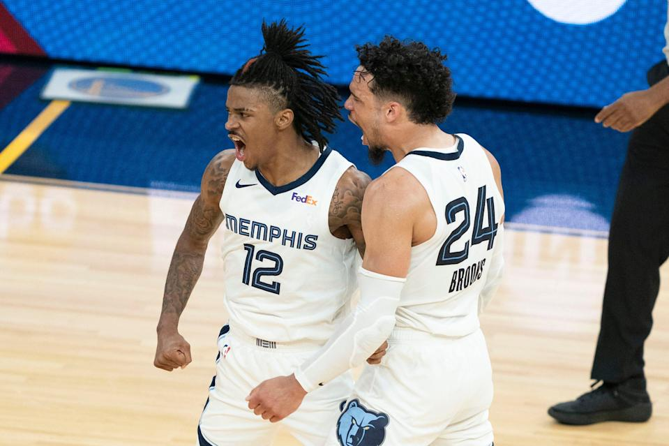 Ja Morant (12), Dillon Brooks (24) and the Grizzlies open the first-round against the Jazz on Sunday.
