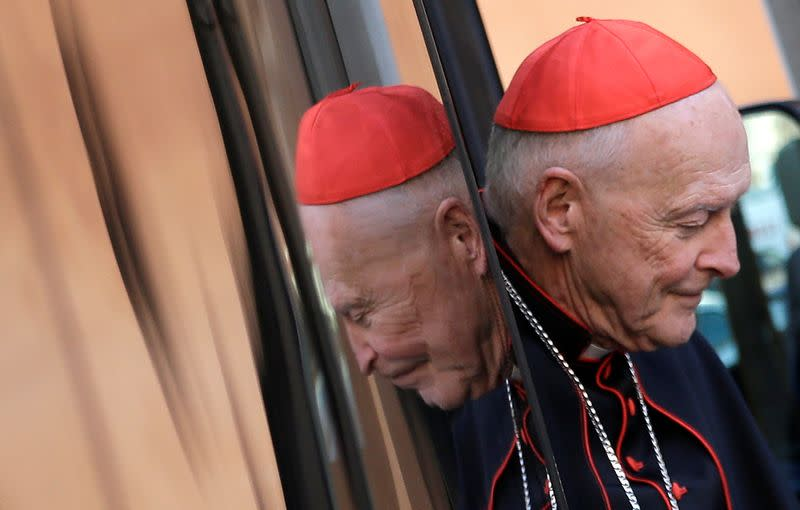 U.S. Cardinal McCarrick arrives for a meeting at the Synod Hall in the Vatican