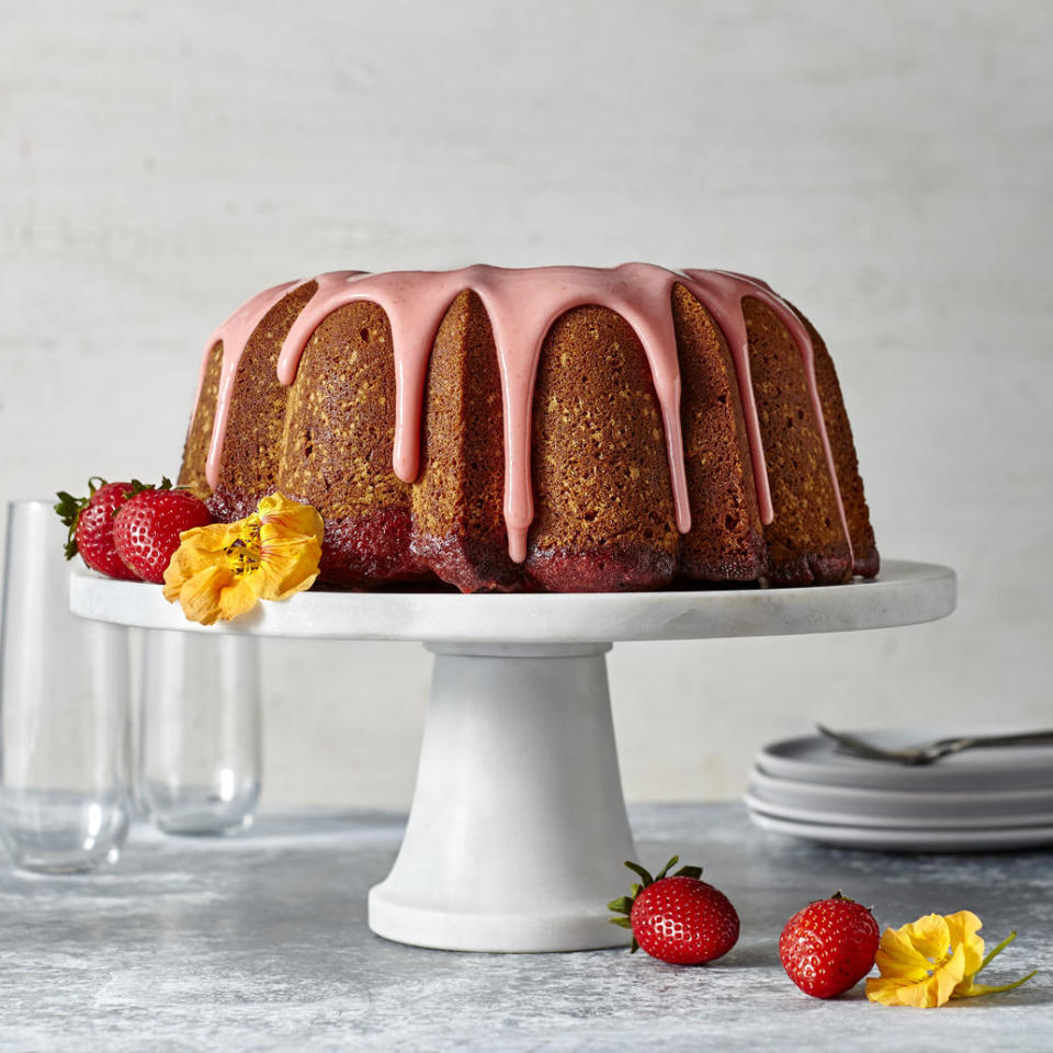 """Poke cake meets pound cake in this must-make spring dessert. A perfectly moist, dense vanilla pound cake (with a delightful hint of almond) is filled with a fresh strawberry filling—adding to the cake's tender crumb and providing the perfect fruity sweet-tart flavor balance. <a rel=""""nofollow"""" href=""""http://www.myrecipes.com/recipe/strawberry-poke-pound-cake-with-strawberry-glaze"""">Strawberry Poke Pound Cake with Strawberry Glaze </a>"""