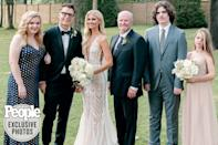 <p>The newlyweds with Bones' sister Amanda, stepfather Keith and his nephew and niece.</p>
